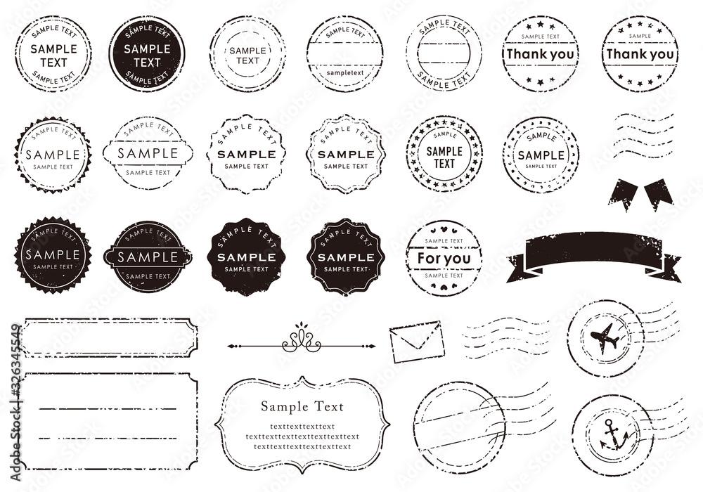 Fototapeta レトロな消印やフレームのイラスト素材