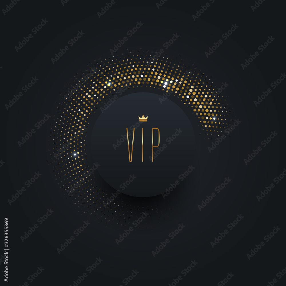 Fototapeta Vip black label with golden crown on a black  background with shining golden halftone. Premium design. Luxury template design. Vector illustration.
