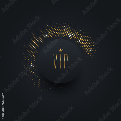 Vip black label with golden crown on a black  background with shining golden halftone Fototapete