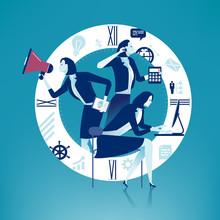 Multitasking. Multi-tasking Manager - Woman. Business Concept Illustration.