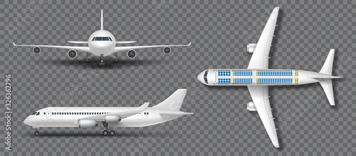 Photo Realistic white airplane, airliner isolated