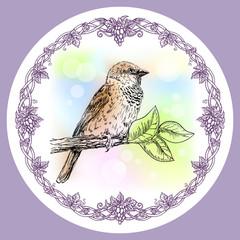 Fototapeta Ptaki Sparrow and round floral frame