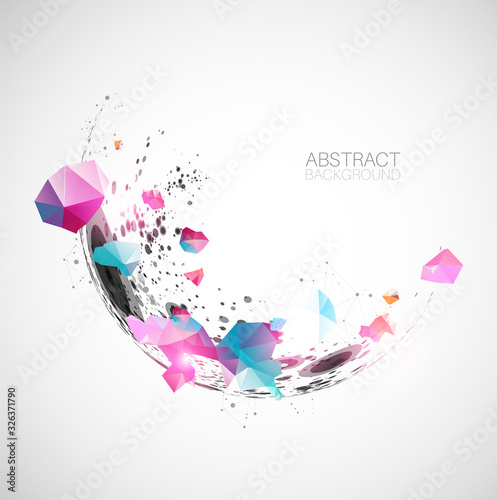 Obraz Abstract background  made with half spheres and plexus effect. - fototapety do salonu