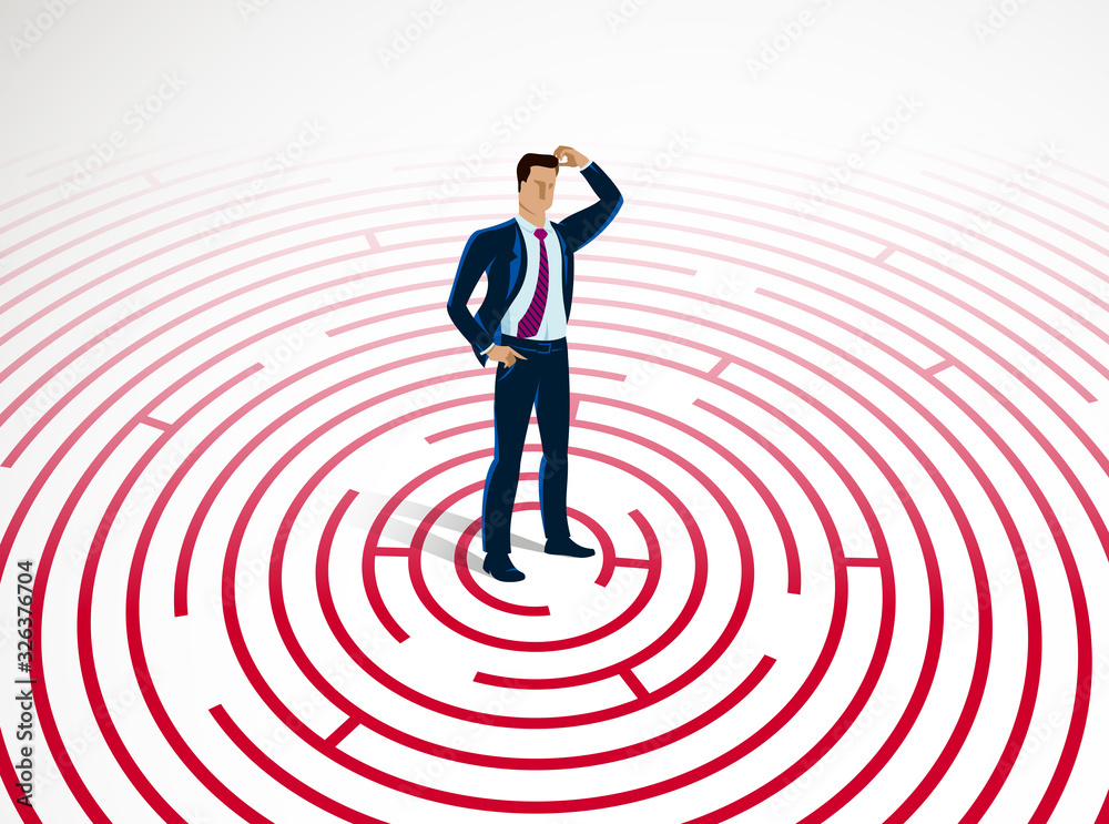 Fototapeta Confused young handsome businessman in the center of radial labyrinth trying to find way out vector illustration, business strategy, problem solution.
