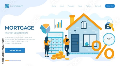 Fototapeta Mortgage concept. House loan or money investment to real estate. Property money investment contract. Buying Home. Man and woman calculates home mortgage rate. Vector illustration with characters. obraz