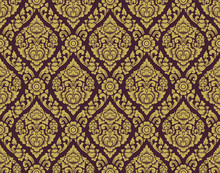 Gold And Brown Lai Thai Pattern ,Thai Traditional Background With Flowers And Vines Cross Vector Art Design