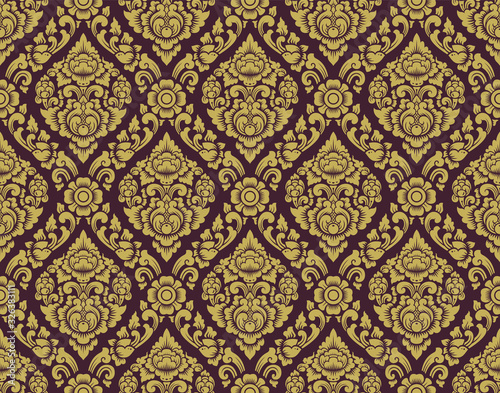 Gold and brown Lai thai pattern ,Thai traditional background with Flowers and vi Fototapete