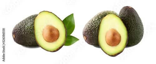 Fototapeta Avocados with avocado leaves isolated on white background. Variety from many. obraz