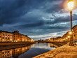 Pisa Italy 11/03/2018: Pisan lungarnos, adorned with wonderful buildings and bridges are the most picturesque and famous places in Pisa, and among the most romantic for sure.Pisa Tuscany Italy