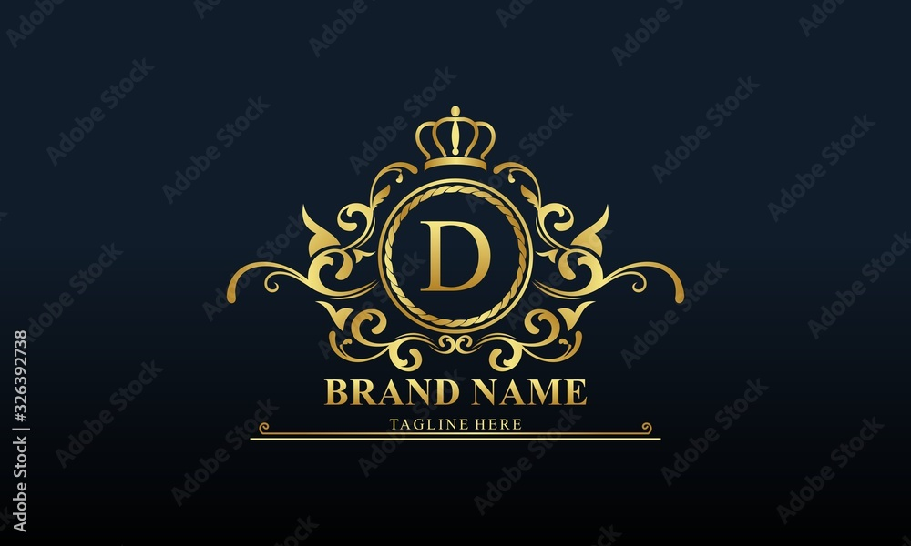 Fototapeta Ornamental luxury golden logo design vector illustration