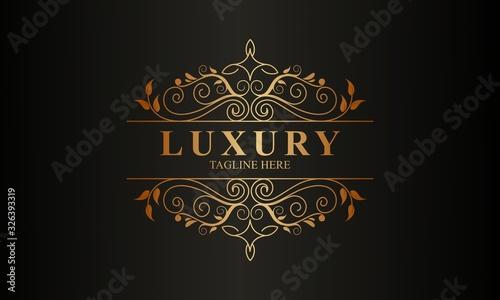 Obraz Ornamental luxury golden logo design vector illustration - fototapety do salonu