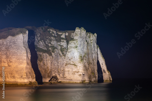Etretat, Normandy, France - The cliffs at the south ('Aval' cliff) with its natu Canvas Print