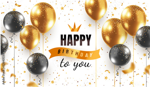 Fotografía Vector happy birthday horizontal illustration on white background with 3d realistic golden and black air balloon with text and glitter confetti