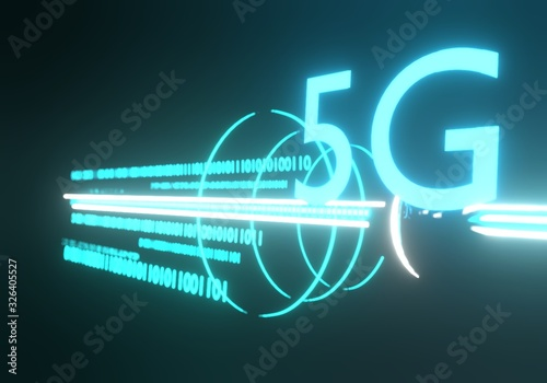 5G background. Mobile internet concept. 3D Rendering Canvas Print