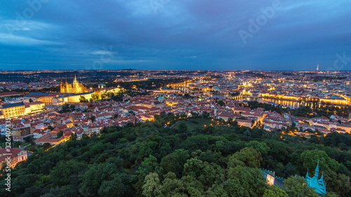 Fototapety, obrazy: Wonderful day to night timelapse View To The City Of Prague From Petrin Observation Tower In Czech Republic