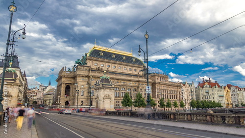 Timelapse  view of the National Theater in Prague from the Legion Bridge Wallpaper Mural