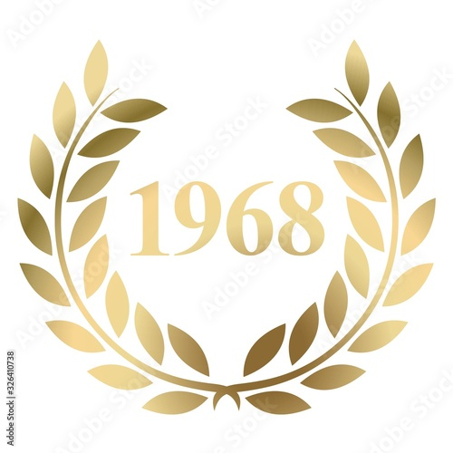 Fotografia Year 1968 gold laurel wreath vector isolated on a white background