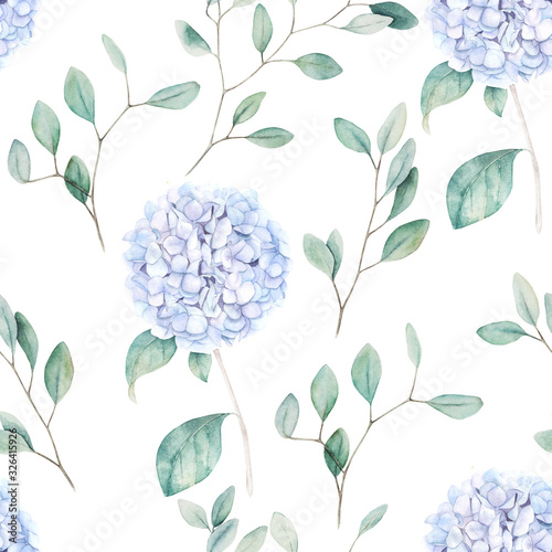Tapeta niebieska  watercolor-seamless-pattern-vintage-print-with-hortensia-flowers-and-eucalyptus-branches-hand-drawn-illustration