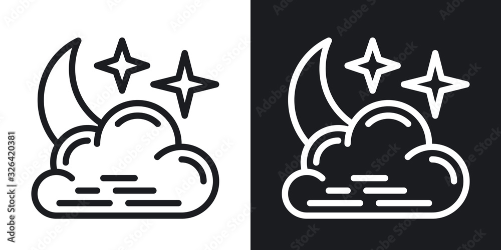 Fotografie, Obraz Night cloudy icon for weather forecast application or widget