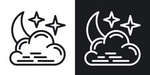 Night Cloudy Icon For Weather ...