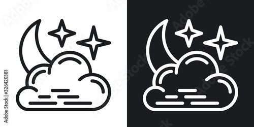 Valokuva Night cloudy icon for weather forecast application or widget