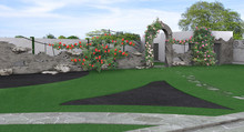 Flowering Plants Support And Green Fence Design, 3D Render