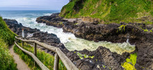 Devil's Churn And Hiking Trail, Cape Perpertua Scenic Overlook, Yachats, Natural Landmark Of The Oregon Coast, USA.