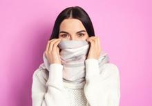 Young Woman Wearing Warm Sweat...