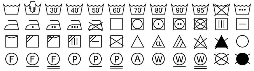 Washing symbols set. Laundry icons. Vector illustration