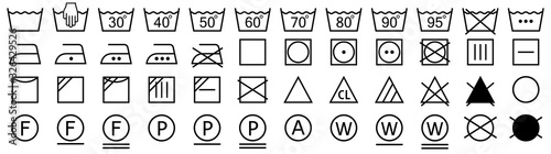 Obraz Washing symbols set. Laundry icons. Vector illustration - fototapety do salonu