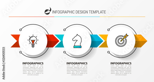 Obraz Infographic design template. Creative concept with 3 steps. - fototapety do salonu
