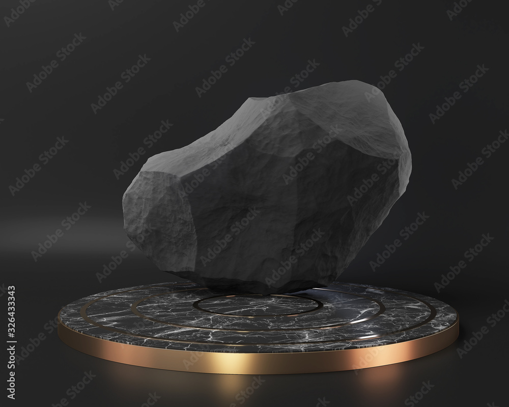 Fototapeta black marble pedestal stage podium display on black wall, abstract minimal concept, blank space and luxury mockup, 3d rendering.