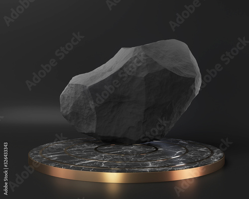 Fototapeta black marble pedestal stage podium display on black wall, abstract minimal concept, blank space and luxury mockup, 3d rendering. obraz
