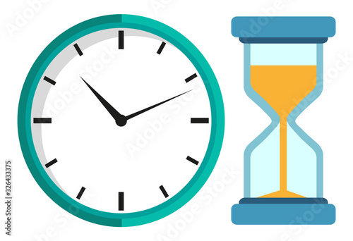 Stampa su Tela Mechanical clock and hour glass isolated vector icons