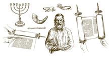 Jewish Man Reading Torah, Jewish Symbols. Hand Drawn Set.