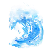 Watercolor Wave Illustration. Hand Painted Blue Texture On White Background. Artistic Sketch Style Drawing. Summer Vacations Vibes.
