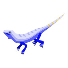Blue Striped Lizard Icon. Isom...