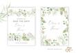 Wedding greenery cards, poster design. Green leaves, fern border, frame, white background. Vector illustration. Romantic floral arrangements. Invitation template