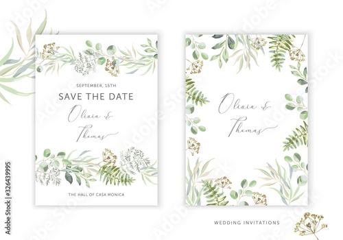 Obraz Wedding greenery cards, poster design. Green leaves, fern border, frame, white background. Vector illustration. Romantic floral arrangements. Invitation template - fototapety do salonu