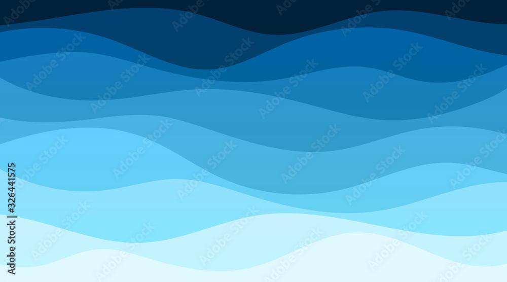 Fototapeta Vector abstract deep blue wave banner background illustration