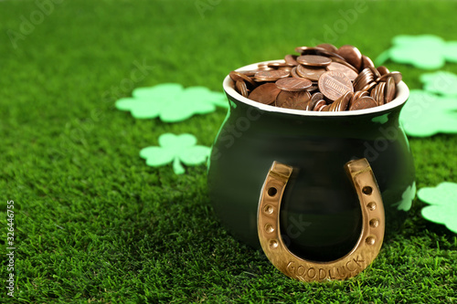 Canvas Print Pot of gold coins, horseshoe and clover leaves on green grass, space for text