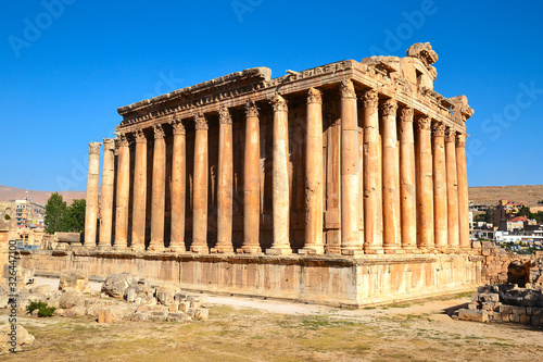 Ancient Roman Bacchus Temple with surrounding ruins in Baalbek in the fertile Be Canvas Print