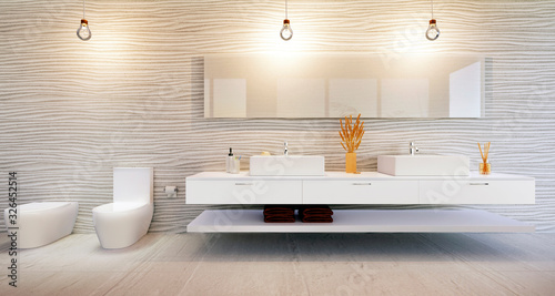 Fotomural Luxury Bathroom furniture illustration against stylish sanddune wall