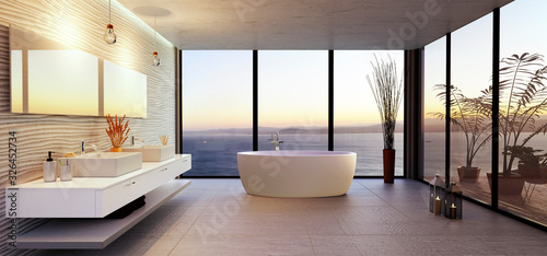 Tableau sur Toile Stylish bathroom illustration with sea view.