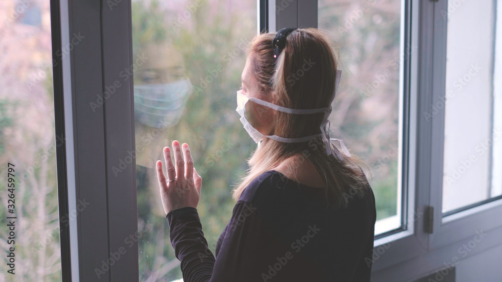 Fototapeta horizontal background woman in isolation at home for virus outbreak or hypochondria