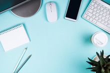 White Keyboard, Mouse And Notepad On Light Turquoise Background. Flat Lay And Top View, Copy Space For Text