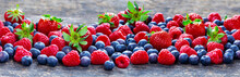 Berries Background Banner With Strawberries, Raspberries, Blueberries
