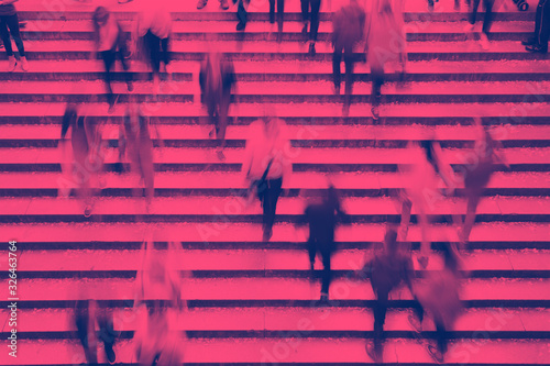 Obraz Overhead view of people walking up the stairs in Central Park, New York City with pink and blue color effect - fototapety do salonu
