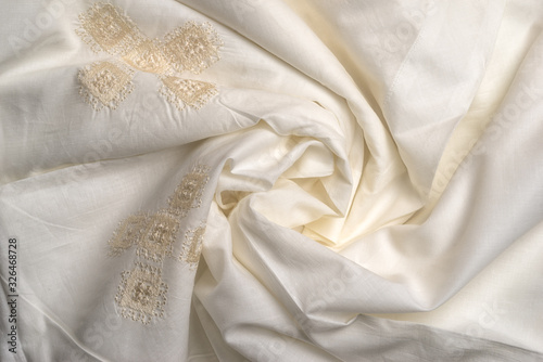 Bedclothes embroidery richelieu abstract swirl background satin cloth or liquid Canvas Print
