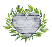 Illustration Wooden Heart With...